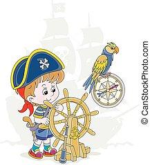 海盗, 男孩, 很少, 玩, 海