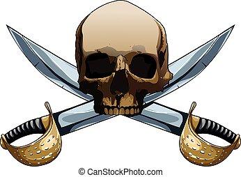海盜旗, 由于, 劍