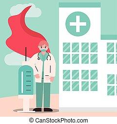 海角, 內科醫生, 英雄, 醫生, 面罩, 注射器, 聽診器, 保護