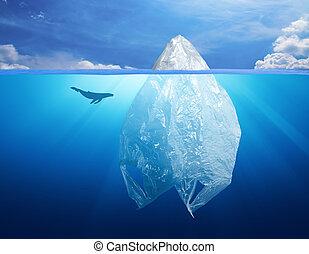 海豚, 冰山, 塑料, 环境, 袋子, 污染