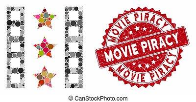 海賊行為, トレーラー, コラージュ, 切手, 映画, 苦脳