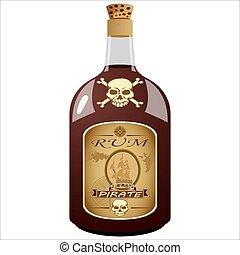 海賊, びん, ラム酒