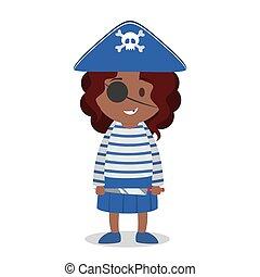 海賊, 地位, 女の子, ハロウィーンの衣装, わずかしか