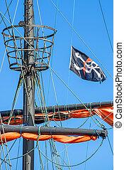 海賊, 旗, 上に, a, 歴史的, 船