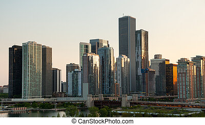 海軍の埠頭, 上に, 日没, シカゴ