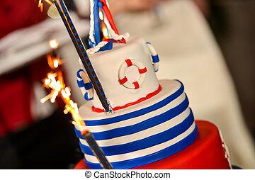 海軍, ケーキ, 幸せ, 日, 結婚式