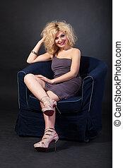 海軍, 肘掛け椅子, 女, 若い, モデル