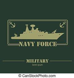 海軍, force., テンプレート, logo., グラフィック, 軍
