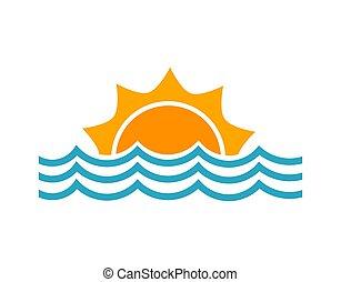 海, シンボル。, 太陽, 波