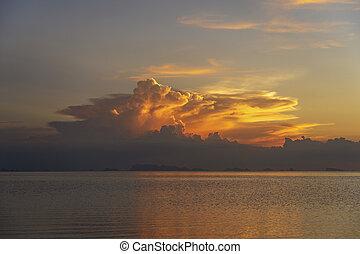 海, 島, 日没, 水, 休暇, 夏, phangan, タイ, 嵐, トロピカル, の間, concept., 上に, 浜。, 雲, 冷静, sunset.colorful