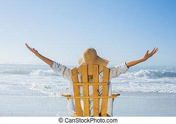 海, 弛緩, 椅子, デッキ, 女