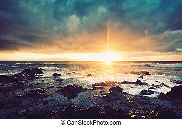 海, 日没, 嵐, 海洋