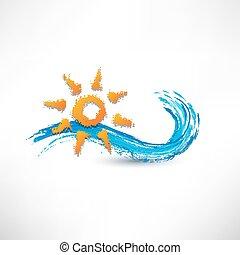 海, 波浪, 同时,, 升起的太阳, 矢量, 描述