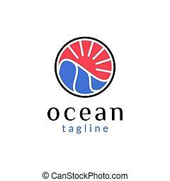 海, 波浪, 簡單, 標識語, 水, 環繞, 太陽, 設計