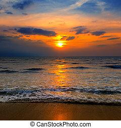 海, 美丽, 海滩, sunrise.