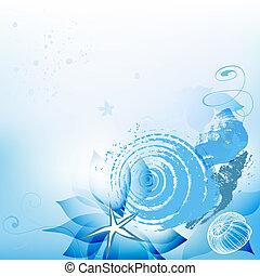海, 背景, 殻