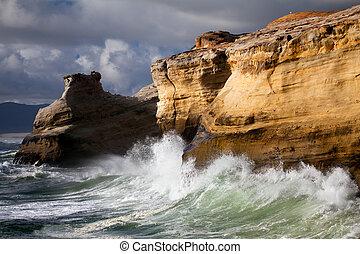 海, 荒い, 風景, オレゴン海岸