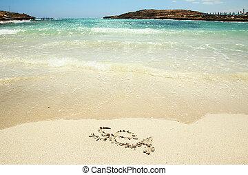 海, 題字, 在沙子上