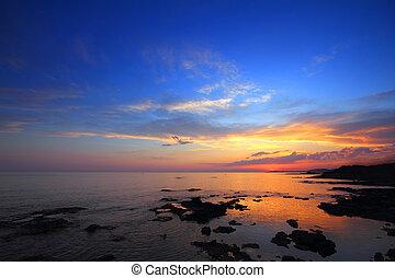 海, 風景, 後で, 日没