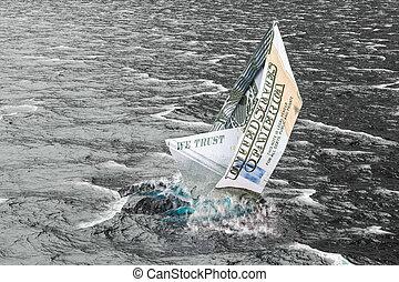 浸ること, ドル, レンダリング, water., 船, 3d