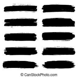 涂描, 结构, 打击, 矢量, 刷子, 黑色