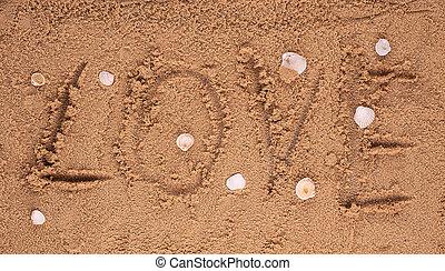 消息, 愛, 寫, 沙子