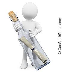 消息, 瓶子, 人们。, 3d, 白色