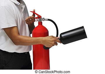 消火器, 使用, 火, 提示, 隔離された, いかに, 背景, 白, 上に, 人