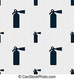 消火器, 火, パターン, 印。, seamless, ベクトル, 幾何学的, texture., アイコン