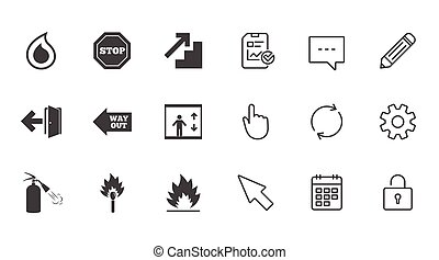消火器, 緊急事態, 火, 印。, icons., 安全