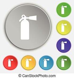 消火器, buttons., 平ら, 火, 印。, ベクトル, 5, シンボル, アイコン