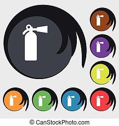 消火器, buttons., 有色人種, 火, 印。, ベクトル, 8, シンボル, アイコン