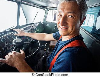 消防人員,  Firetruck, 開車, 愉快