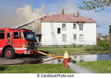 消防士, 戦い, a, 家の 火