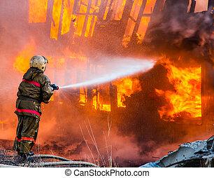 消防士, 火, extinguishes