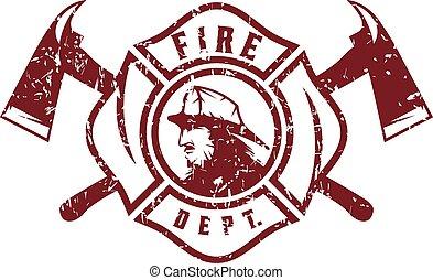 消防士, 紋章, グランジ, 部門, 火