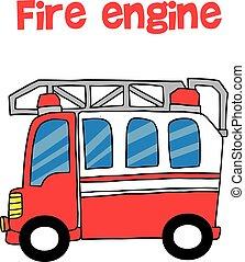 消防車, ベクトル, 漫画, 赤