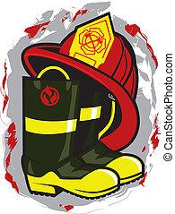 消防隊員, 帽子, 以及, 靴子