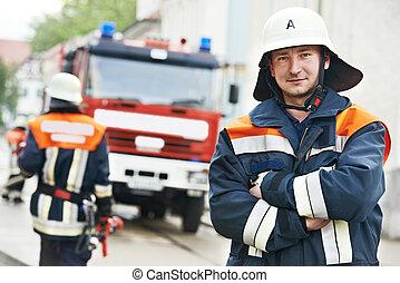 消防隊員, 肖像, 在, 訓練