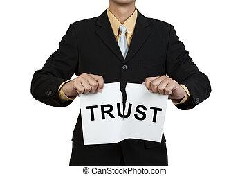 涙, ビジネスマン, 信頼, ペーパー, 単語