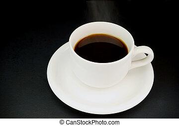 液体, カップ, 暑い, 黒, 白, 蒸気