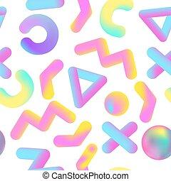 液体, ポスター, パターン, 抽象的, shapes., seamless, イラスト, 液体, 現実的, ベクトル, 背景, 幾何学的, メンフィス, covering., 旗