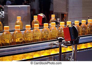 液体, 中身, 機械, そして, パッキング, 中に, 産業, 植物