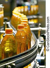 液体, 充满, 机器, 同时,, 包装, 在中, 工业, 植物