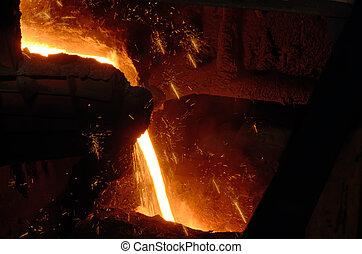 液体, 金属, から, 炉