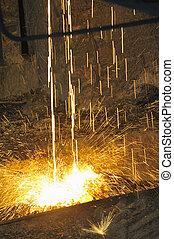 液体, 金属, たたきつける, 中に, 鉄道, 容器