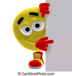 涼しい, そして, 面白い, 黄色, emoticon, 言う, 見なさい, ここに