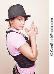 涼しい, セクシー, 若い女性, ∥で∥, 最新流行である, 帽子