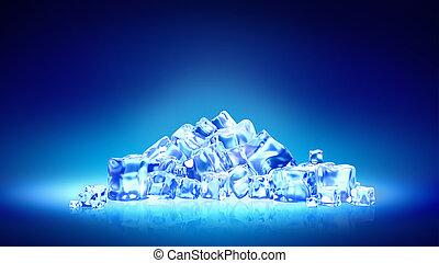 涼しい, 青, 美しい, 氷 水, スライド, 背景