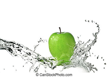 淡水, 飞溅, 在上, 绿色的苹果, 隔离, 在怀特上